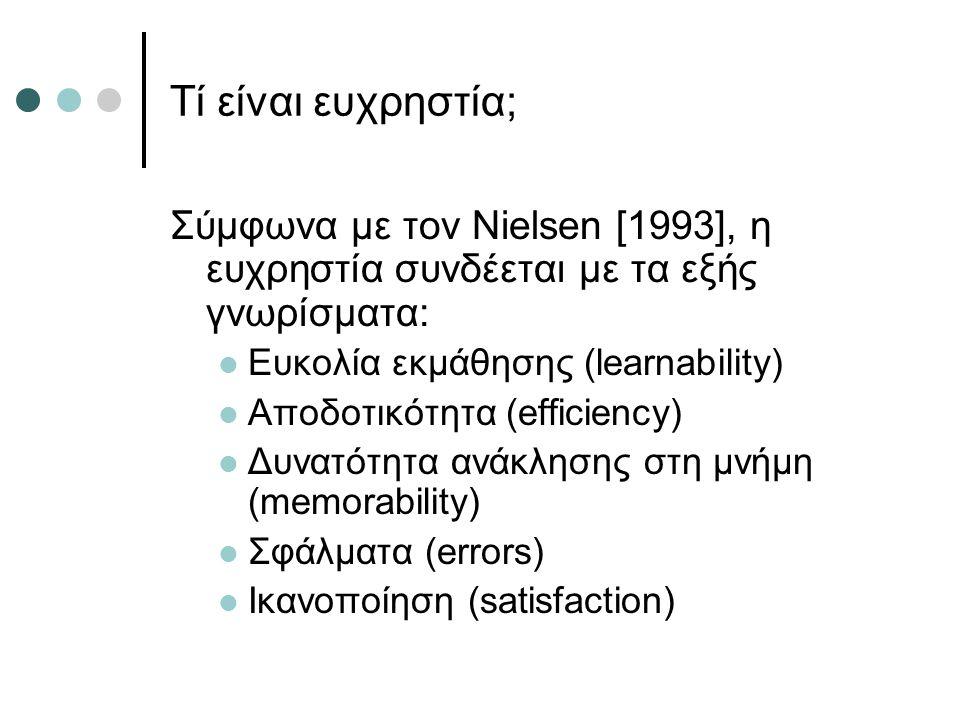Τί είναι ευχρηστία; Σύμφωνα με τον Nielsen [1993], η ευχρηστία συνδέεται με τα εξής γνωρίσματα: Ευκολία εκμάθησης (learnability)